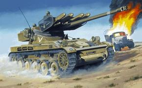 Картинка пустыня, рисунок, грузовик, танк, ПТУР SS-11, АМХ-13
