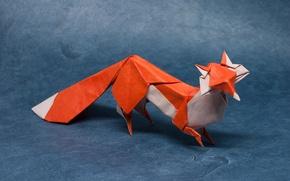 Картинка бумага, хищник, оригами, лисица