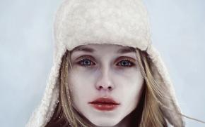 Картинка зима, взгляд, девушка, снег, лицо, шапка, арт, губы