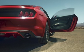 Картинка красный, Mustang, Ford, мустанг, red, мускул кар, форд, muscle car, rear, открытая дверь