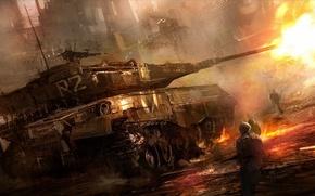 Картинка город, огонь, война, выстрел, солдаты, танк