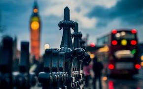 Картинка макро, город, огни, люди, забор, Англия, Лондон, вечер, ограда, ограждение, Великобритания, Биг-Бен, автобус, боке, London, …