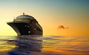 Обои небо, 3D, корабль, море, круизный лайнер