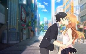 Картинка город, поцелуй, аниме, арт, пара, двое, Oreimo