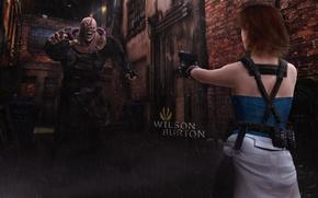 Картинка девушка, ночь, пистолет, оружие, дождь, монстр, арт, переулок, Biohazard, Джилл Валентайн, Jill Valentine, немезис, Resident …