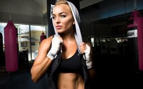 Картинка blonde, workout, fitness, gym, transpiration