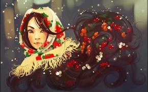 Картинка зима, взгляд, девушка, лицо, ягоды, волосы, платок