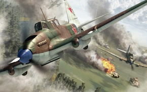 Картинка WW2., боевой, пантера, истории, арт, массовый, самолет, штурмовик, 1944г., колонну, самый, ВОВ, атака, двухместный, летающий ...