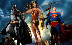 Картинка Wonder Woman, Batman, Superman, DC Comics, Bruce Wayne