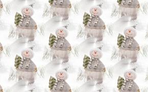 Картинка Новый год, фон, текстура, праздник, снеговик