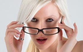 Картинка девушка, очки, блондинка, взляд