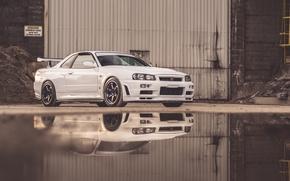 Картинка Nissan, Water, Skyline, GT-R 34, Reflexion
