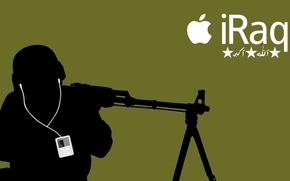 Обои солдат, силуэт, ipod