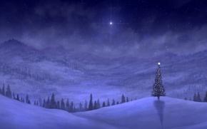 Картинка зима, снег, горы, ночь, огни, праздник, холмы, ель, арт, ёлка, гирлянды