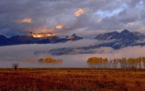 Картинка утро, свет, горы, туман, небо, осень