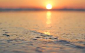 Обои море, волны, вода, солнце, макро, лучи, закат, природа, отражение, река, фон, океан, рассвет, widescreen, обои, ...