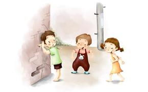 Картинка дети, рисунок, смех, прятки, косички, веселье, шалости