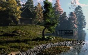 Картинка деревья, пейзаж, закат, дом, река, восход, камни, лодка, арт, klontak