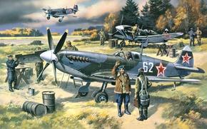 Картинка самолет, истребитель, арт, СССР, аэродром, английский, ВОВ, Spitfire, подготовка, Supermarine, WW2., вылету, ленд-лизу, ПВО, Москвы, …