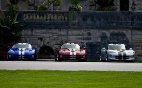 Обои Dodge Viper, Трава, Стена, Перила