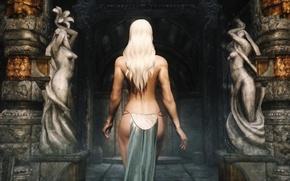 Картинка девушка, спина, блондинка, храм, статуи, The Elder Scrolls V: Skyrim