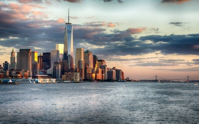 Картинка США, город, океан, Нью Йорк, мост, море