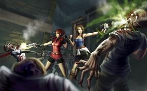 Картинка оружие, Девушки, выстерлы, зомби