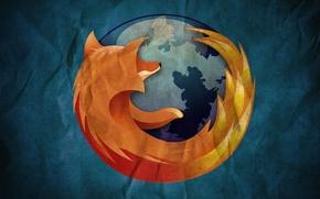 Картинка фон, планета, лиса, Mozilla Firefox