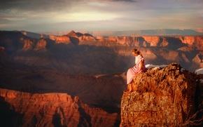 Картинка девушка, камень, высота, каньон, TJ Drysdale