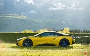 Обои tuning, bmw i8, горы, car, желтая