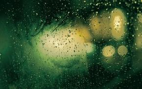 Картинка стекло, капли, макро, дождь, текстура, drop, зеленые обои