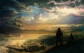 Картинка тучи, война, поля, корабли, арт, самолеты, солдаты, перекур, бинты
