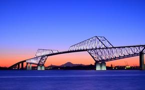 Картинка небо, закат, оранжевый, мост, вечер, Япония, Токио, залив, синее, столица