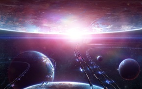 Картинка космос, транспорт, звезда, планеты, корабли, арт, Alienphysique, Katherl Hannes