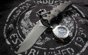 Обои часы, Knives & Wristwatch, нож, ткань