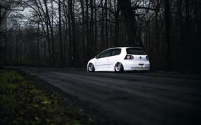 Картинка Volkswagen, white, Golf, GTI, Stance, MK5