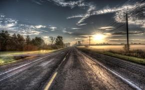 Обои дорога, свет, закат