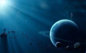 Картинка космос, свет, планеты, beautiful space