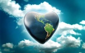 Обои земля, небо, планета, сердце