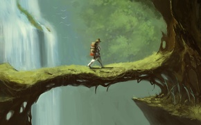 Картинка мост, дерево, человек, водопад, арт, рюкзак, лианы