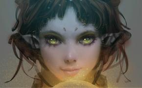 Картинка девушка, магия, эльф, желтые глаза