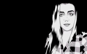 Картинка обои, черно-белая, Девушка, минимализм, girl, красивая, Мария, minimalism, beautiful, Барилко