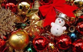 Обои снеговик, игрушки, рождество