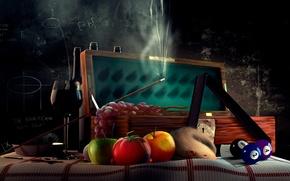 Обои доска, кий, крыса, рюмка, бильярд, помидор, шары, виноград
