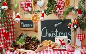 Картинка праздник, игрушки, Рождество, чашка, декорации, Christmas, шишки, пряности, елочные