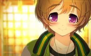 Картинка девушка, улыбка, цепочка, Watanuki Fuuri, galaxy one, аниме super sonico