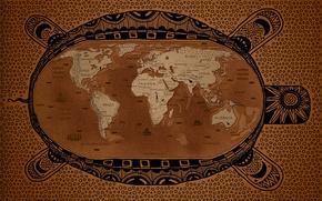 Обои земля, черепаха, карта