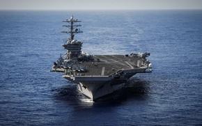 Картинка небо, горизонт, авианосец, палуба, американский, самолёты, Тихий океан, обслуживающий персонал, USS Nimitz (CVN 68)