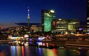 Картинка ночь, огни, река, здания, Австрия, фонари, Вена, Vienna
