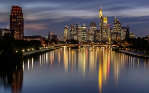 Картинка ночь, мост, огни, дома, Германия, Франкфурт-на-Майне